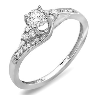 14k White Gold 2/5ct TDW Round Diamond Swirl Engagement Ring (H-I, I1-I2)