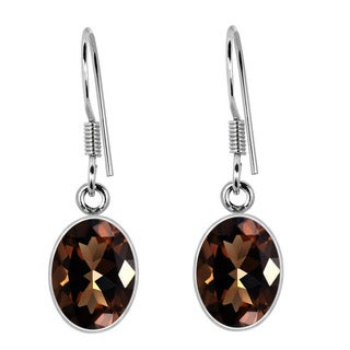 Orchid Jewelry 925 Sterling Silver 6.85ct TGW Genuine Smoky Quartz Earring