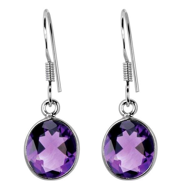 Orchid Jewelry .925 Sterling Silver 8 1/4ct Genuine Amethyst Gemstone Dangle Earrings