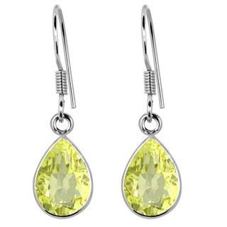 Orchid Jewelry 925 Sterling Silver 3.75ct TGW Genuine Lemon Quartz Earring