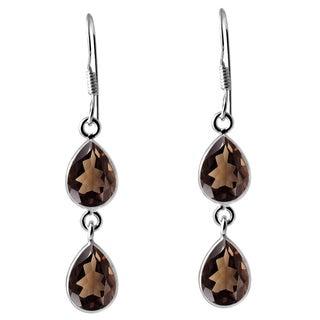 Orchid Jewelry .925 Sterling Silver 7ct. Smoky Quartz Gemstone Dangle Earrings