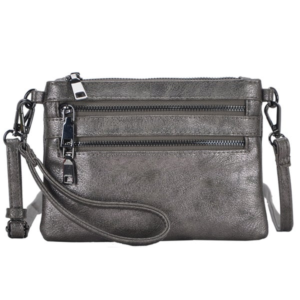 Mechaly 'Tilly' Pewter Vegan Leather Clutch Handbag
