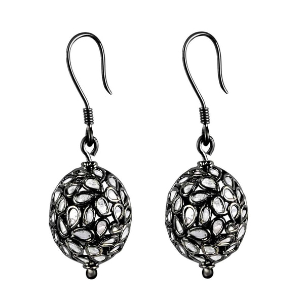 Orchid Jewelry Black Rhodium Over 925 Sterling Silver 1 1/9ct TDW Dangle Diamond Earrings