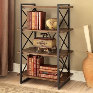 Furniture of America Collins Industrial Medium Weathered Oak 4-tier Display Shelf