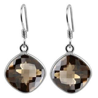 Orchid Jewelry 925 Sterling Silver 11.00ct TGW Genuine Smoky Quartz Earring