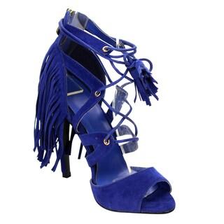 Beston Women's Lace Up Fringe Tassel Heel Shoes