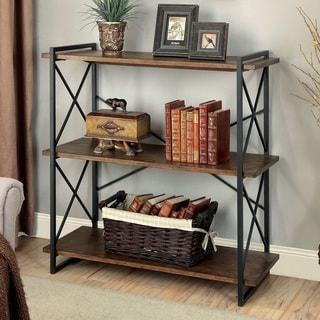 Furniture of America Collins Industrial Medium Weathered Oak 3-tier Display Shelf