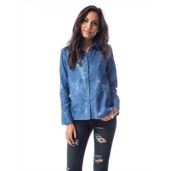 JED Women's Long Sleeve Acid Washed Denim Button Down Shirt