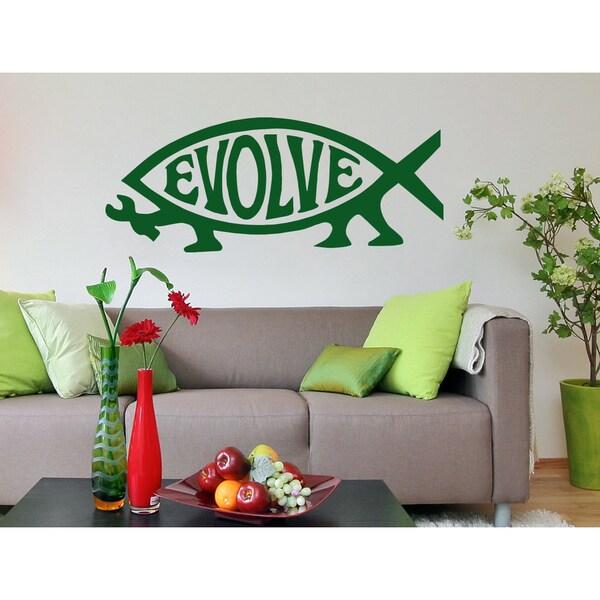 Evolution Inscription Wall Art Sticker Decal Green