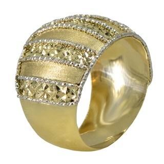 14k Two-tone Gold Diamond-cut Stripe Ring (Size 7)