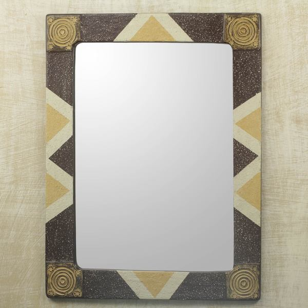 Handcrafted Sese Wood 'African Safari' Mirror (Ghana) 18143826