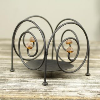Set of 2 Iron Recycled Glass 'Spiral Comet' Candleholders (Ghana)