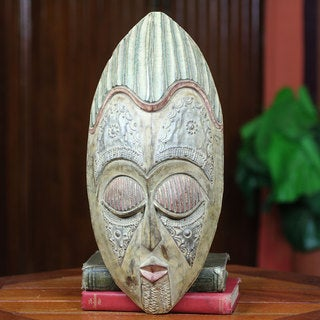 Handcrafted Sese Wood 'King of the Cocoa' Mask (Ghana)