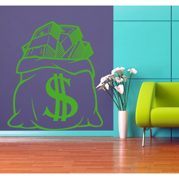Bag of money dollars Wall Art Sticker Decal Green