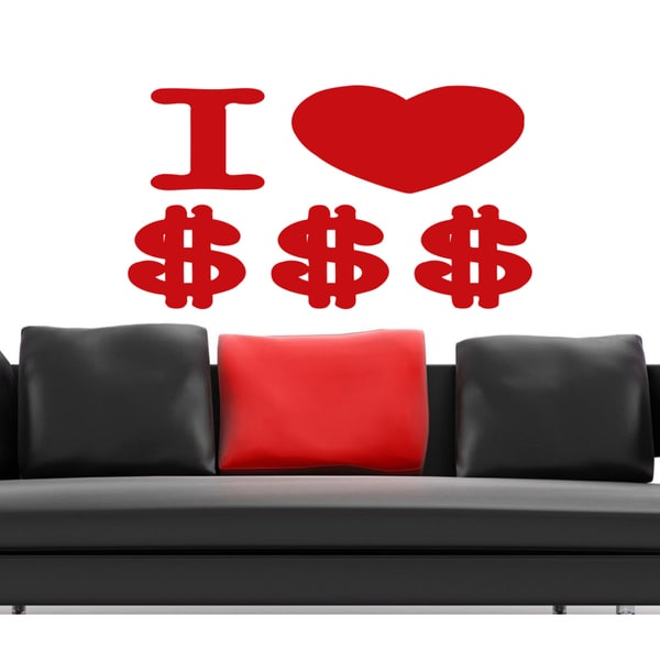 I love money dollars Wall Art Sticker Decal Red 18146081