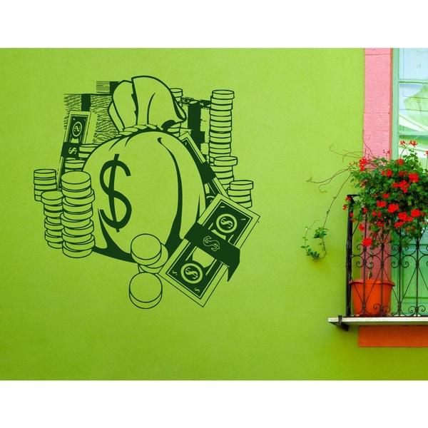 Bag of money dollars money Wall Art Sticker Decal Green