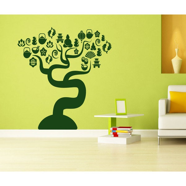 Cafe Sushi tree food tea Wall Art Sticker Decal Green
