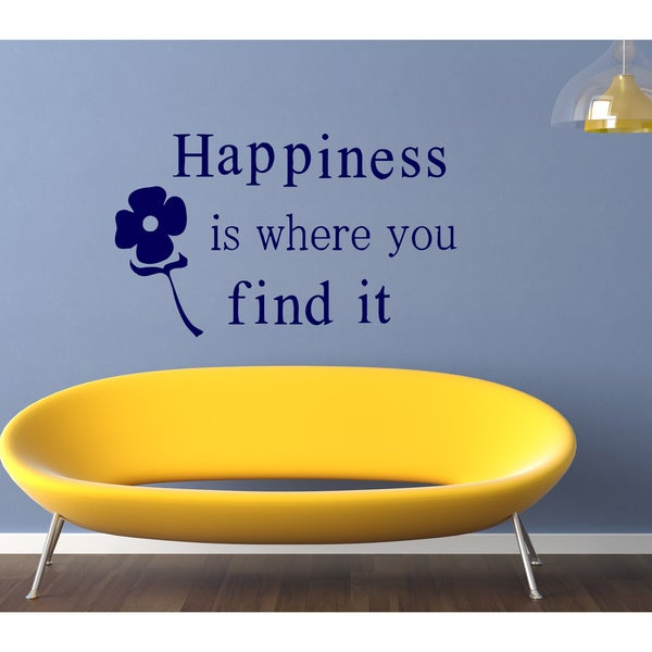 Happiness is where you Wall Art Sticker Decal Blue