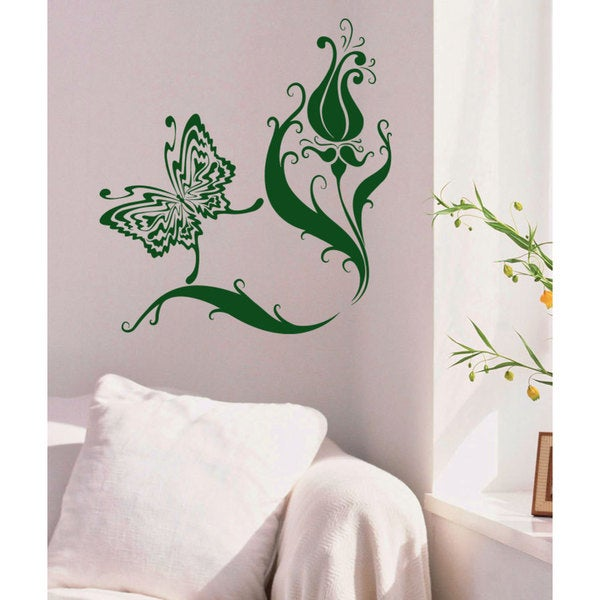 Butterfly flowers beauty of nature Wall Art Sticker Decal Green