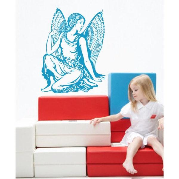 Woman angel Wings deity Wall Art Sticker Decal Blue