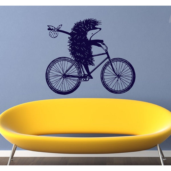 Hedgehog on a bicycle animal Wall Art Sticker Decal Blue