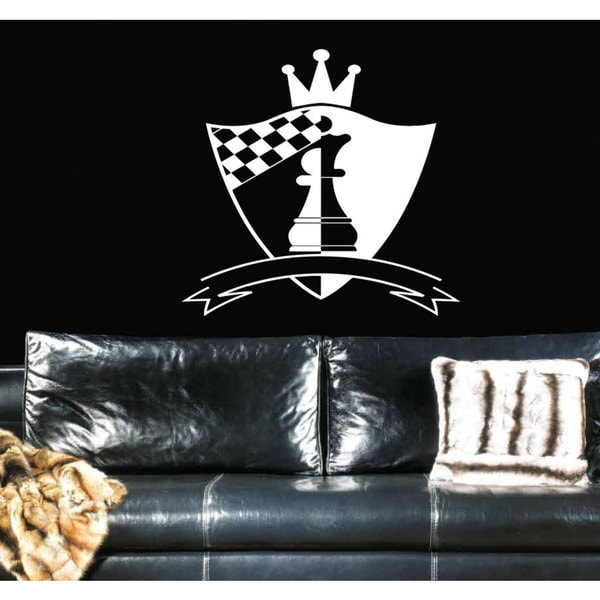 Shield chess pawn crown sport Wall Art Sticker Decal White