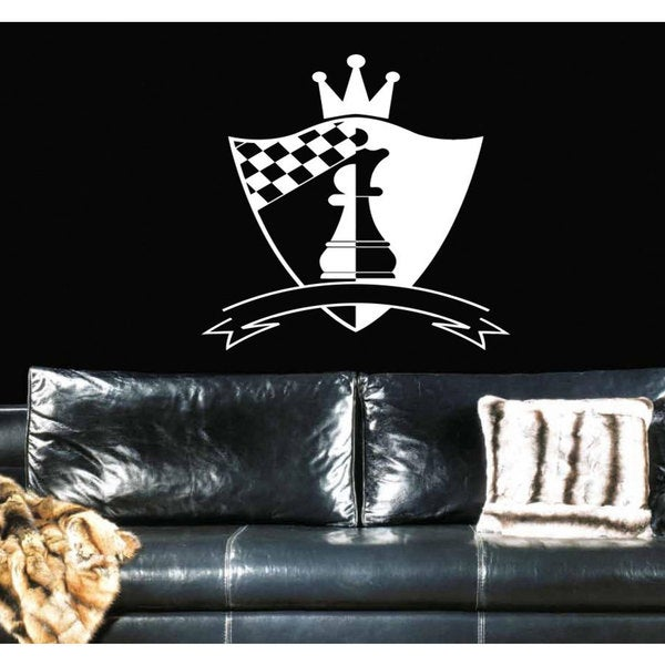 Shield chess pawn crown sport Wall Art Sticker Decal White