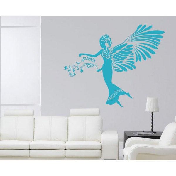 Woman angel flowers wings Wall Art Sticker Decal Blue
