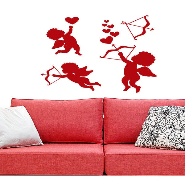 Cupids angel wings heart arrow of Love Wall Art Sticker Decal Red