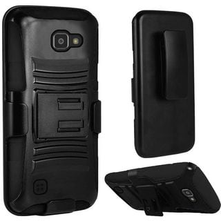 Insten Black Hard PC/ Silicone Dual Layer Hybrid Case Cover with Stand/ Holster For LG Optimus Zone 3