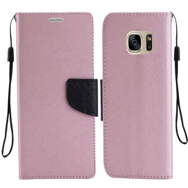 Insten Rose Gold/ Black Leather Case Cover Lanyard with Stand For Samsung Galaxy S7 Edge