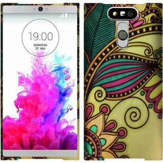 Insten Yellow Antique Flower Hard Snap-on Rubberized Matte Case Cover For LG G5