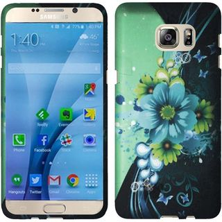 Insten Green/ Blue Sublime Flower Hard Snap-on Rubberized Matte Case Cover For Samsung Galaxy S7