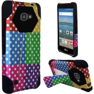 Insten Colorful/ Black Polka Dots Hard PC/ Silicone Dual Layer Hybrid Case Cover with Stand For LG K4/ Optimus Zone 3/ Spree