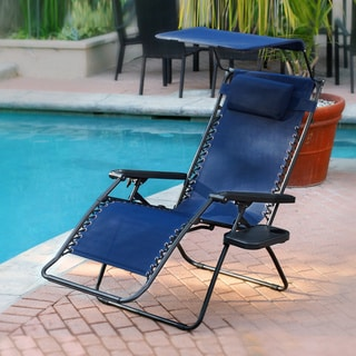 Oversized Zero Gravity Olefin Sunshade Chair with Drink Tray