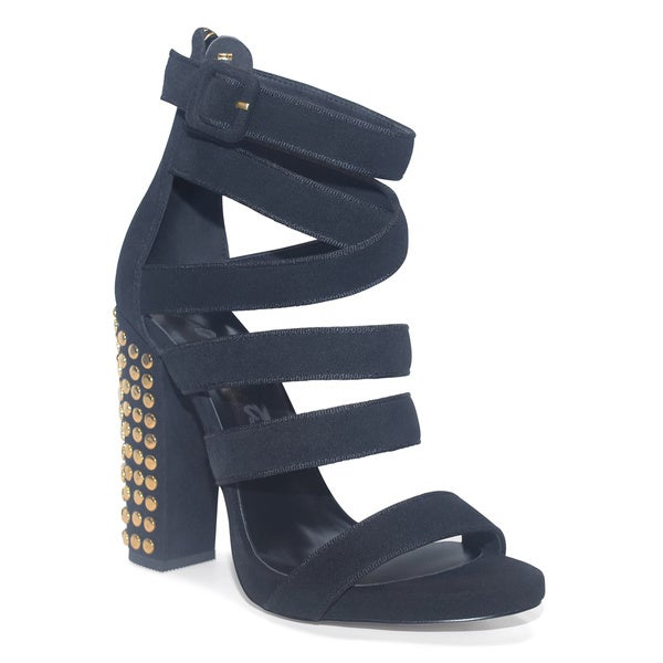 Lonia Shoes Dawson Chunky Heel in Navy with Gold Rivets and Hardware