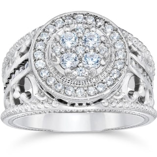 10k White Gold 1ct TDW Halo Diamond Pave Engagement Ring (I-J,I2-I3)