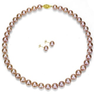 DaVonna 14k Gold 18-inch Pink Freshwater Pearl Necklace and Earring Set (8-9 mm)