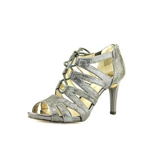 Anne Klein Women's 'Ornella' Silver Leather Sandals