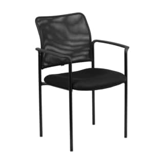 Offex Contemporary Black Mesh Comfortable Stackable Steel Side Chair With Arms [GO-516-2-GG]