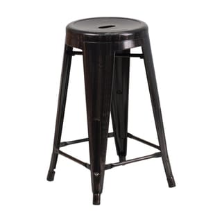 24 Inch Round Backless Metal Counter Stool