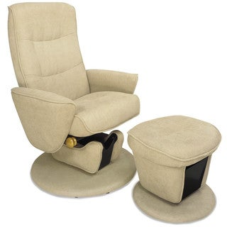 Camel Fabric Swivel Glider Recliner with Ottoman
