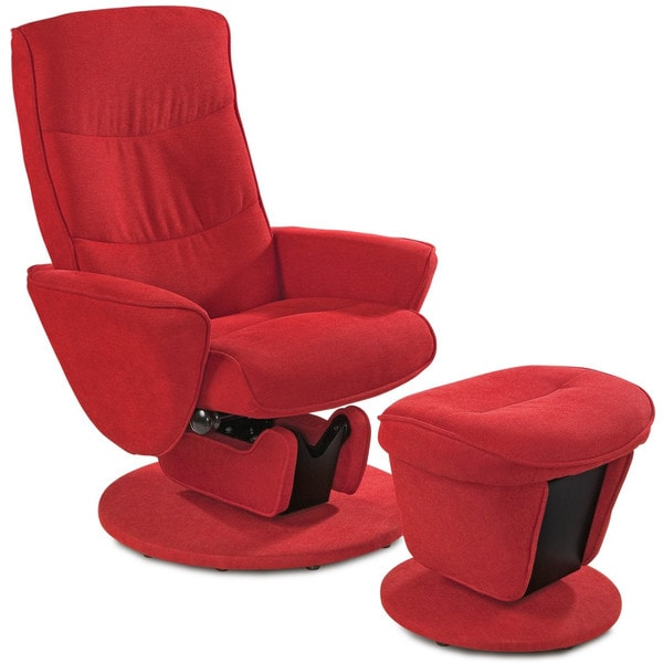 Tomato Fabric Swivel Glide Recliner with Ottoman