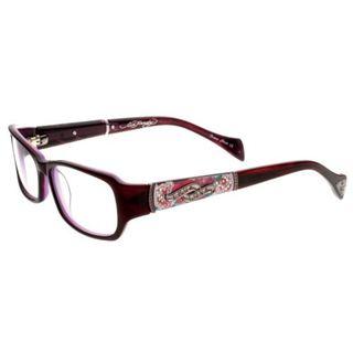 Ed Hardy EHO-719 Women's Plum Designer Eyeglasses