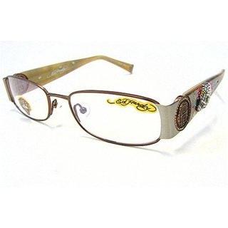 Ed Hardy EHO-711 Women's Brown/Pewter Designer Eyeglasses