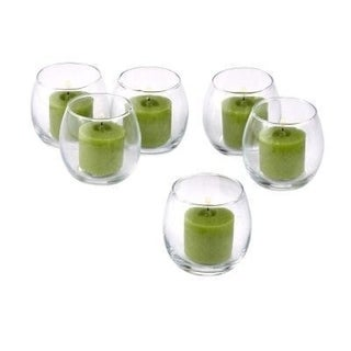 Clear Glass Hurricane Votive Candle Holders with Lime Green Votive Candles with 10-hour Burn (Set of 36)