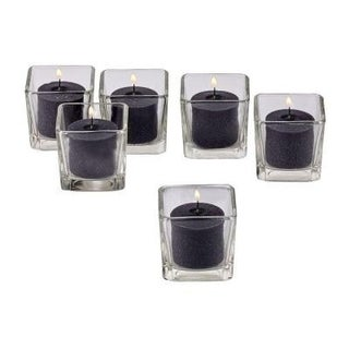 Clear Glass Square Votive Candle Holders with Black Votive Candles with 10-hour Burn (Set Of 36)