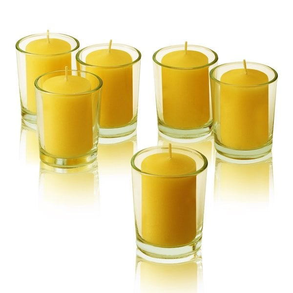 Clear Glass Round Votive Candle Holders with Citronella Yellow votive candles (Set of 72)