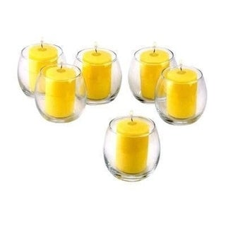 Clear Glass Hurricane Votive Candle Holders with Citronella Yellow Votive Candles Burn 15 Hours (Set of 36)
