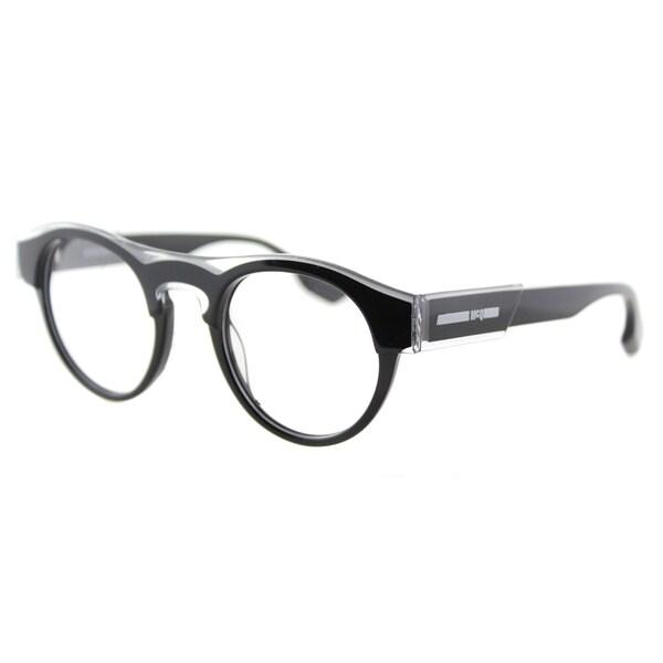 McQ MQ 0005O 001 Crystal Black Plastic Round 45mm Eyeglasses